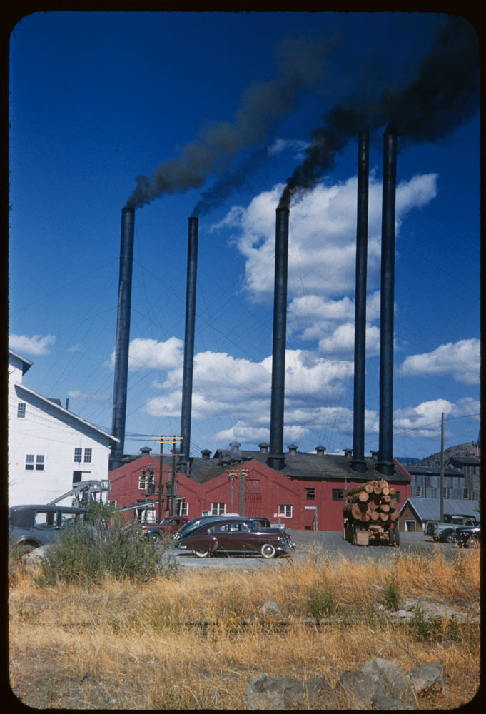 ID: P07245. Long-Bell Lumber Co. stacks at Weed, California, near Mt. Shasta. 1954 Aug. 20. Weed, CA. Retrieved from: http://www.dlib.indiana.edu/collections/cushman/