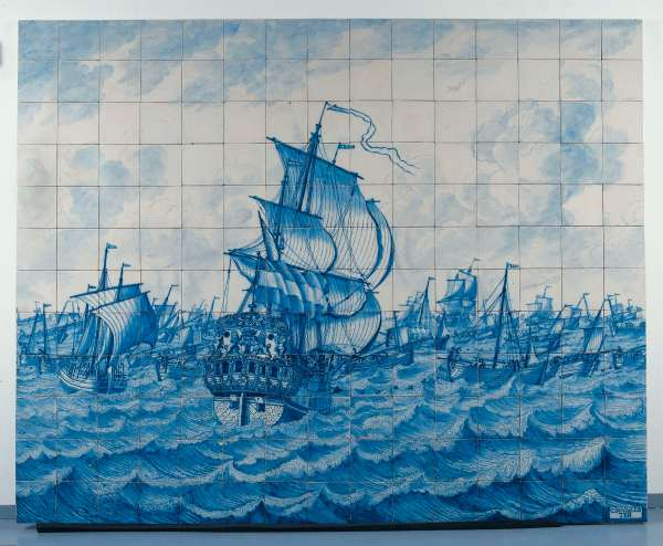 Tile panel with the country's ship Rotterdam and the herring fleet, Tile Bakery at the Delft canal, ca 1700 - ca 1725. Retrieved from: rijksmuseum.nl